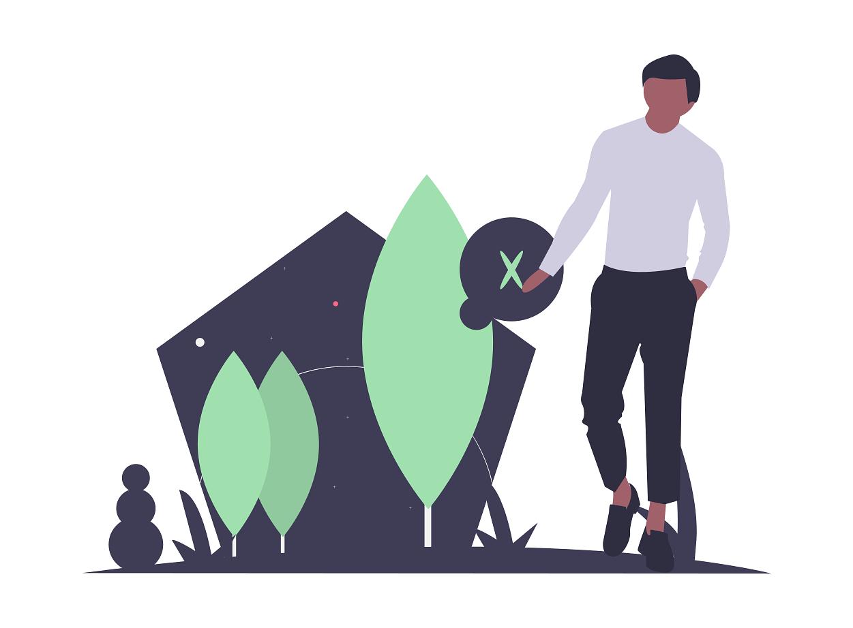 dessin d'un homme et de végétaux