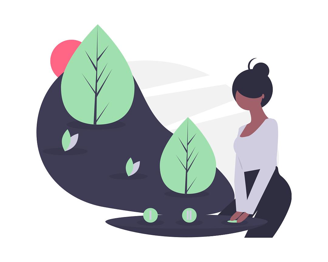 dessin d'une femme et de végétaux