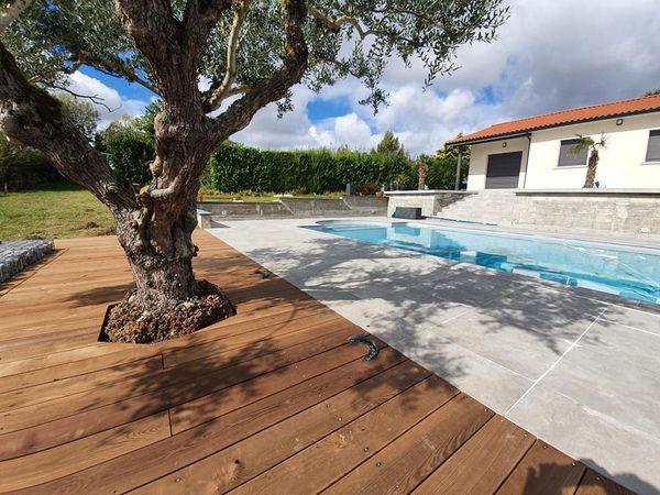 réalisation d'un olivier implanté dans une terrasse en bois devant une piscineralisation d'un